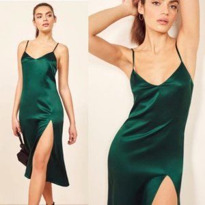 Reformation Silk Britten Midi Dress in Emerald